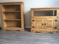 2 piece Mexican pine set - bookcase & tv unit. £120