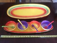 Mexican stoneware serving platers with 4 bowls & spoons.