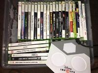 Xbox 360 with numerous games, internet adaptor two controllers