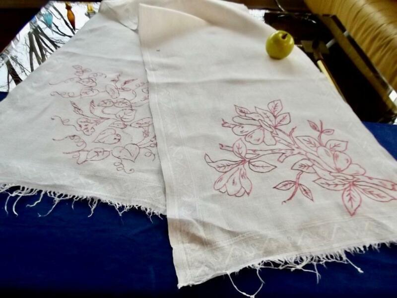 Antique Victorian Chic Irish Linen Show Towel Turkey Red Embroidery 16x68 Runner