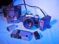 3 Vintage cameras For Sale : Hanimex mini 110 , Fujica st605n & Polaroid Super Swinger.
