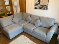 Grey L shaped 5 seat sofa