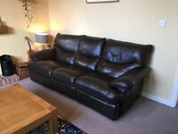 Large faux leather couch recliner