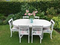 Shabby chic extending dining table and 6 chairs
