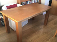 6 seater rectangular Beech Dining Table with modern square chunky legs (No chairs included)