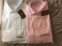 2 TM LEWIN luxury double cuff shirts.