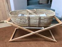Moses basket, stand and BRAND new mattress and 2 new sheets