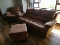 Brown leather recliners - 3 seater - rocking chair - footstall