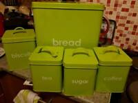 Green kitchen canister