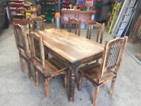 Jali Ganga Indian Solid Sheesham Wood 175cm Dining Room Table And Chairs