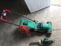 Qualcast lawnmover + hedge trimmer