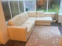 LARGE / BULKY CORNER SOFA - CREAM / BEIGE REAL LEATHER / RIGHT HAND SIDE EXCELLENT CONDITION