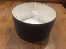 Fabric Drum Shade (blue/grey) 46cm X 20cm made by Jim Lawrence