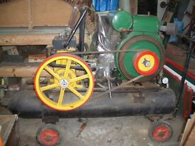 Vintage portable compressor driven by 1943 Lister engine.