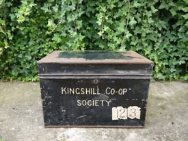 Vintage Old Antique Large Black Metal Cash Deed Tin Box Kingshill Co-Op Society