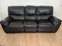3 and 2 seater Brown Faux Leather sofa.. free