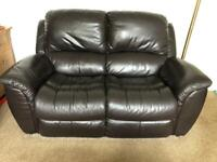 Lazboy brown leather reclining armchair and sofa