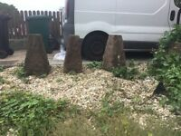 Garden 120 lb staddle stone base stop cars parking on grass verge