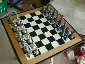 PEWTER CHESS SET and CHESS BOARD