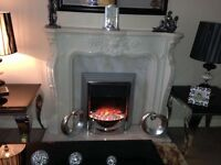 Solid heavy marble fire surround