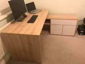 Large corner office desk with storage