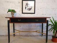 Vintage G Plan Egomme Liberanza Tola & Black Teak Console Table Desk CR0006