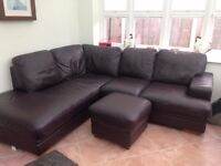 brown leather corner suite good condition with foot stool,need to be collected