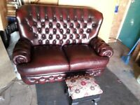 CHESTERFIELD LEATHER SOFA BY T.LLOYD AND FOOTSTOOL