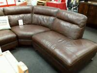 Lovely brown leather corner sofa