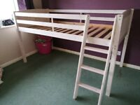 White Washed Mid Sleeper Bed