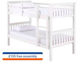 Bunk beds in white and wood colours including free fitting and delivery