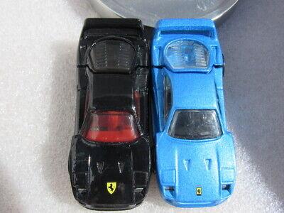 HOT WHEELS FERRARI F40 LOT OF 2 LOOSE - BLUE W/ PR5's & BLACK W/Chrome 5 spokes