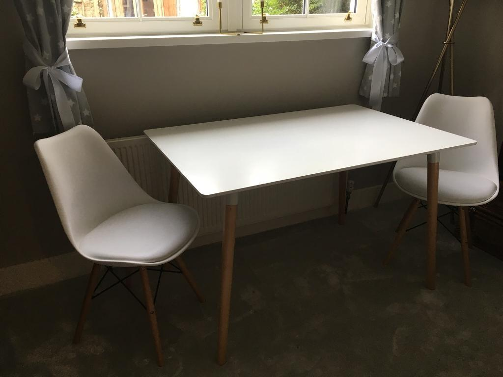 Eames 'Eiffel' style table and 2 x chairs with cushioned seating