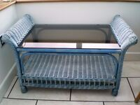 2 x BLUE RATTAN/WICKER COFFEE TABLES
