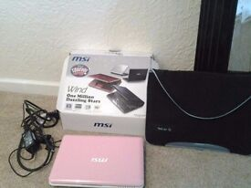 Excellent Condition MSI U180 Netbook/laptop in pink