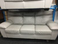 ScS New/Ex Display Light Grey Leather 3 Seater Sofa