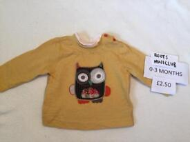 Boots Miniclub baby long sleeved top 0-3 months