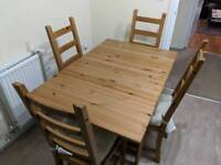 Ingatorp Oak Dining Table with 4 chairs