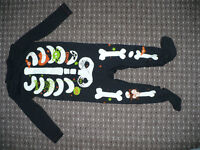 Bundle of 2 Halloween Babygrows/Sleepsuits for Boy 9-12mths old. Skeleton one glows in the dark.