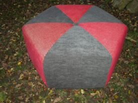 *** NEWLY DESIGNED ONE OFF RED/GREY WOOL TWEED HEXAGANOL POUFFE/ FOOTSTOOL WOW L@@K *****