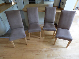 Set of four padded suede-effect dining chairs
