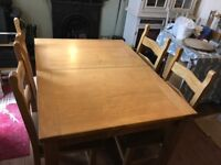 Solid Hardwood Extending Dining Table & 4 Chairs