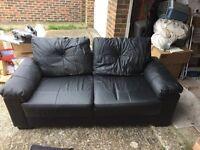 Sofa black leather second hand
