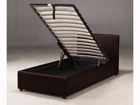 ''CLEARANCE STOCK'' -- SINGLE OTTOMAN STORAGE LEATHER BED WITH MATTRESS -- ''BEST OFFER''