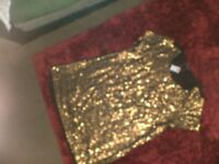 Gold Sequin top (size 16)
