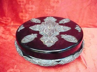 Beautiful, Old Covered Dish __Metall-Reljefverzierungen__ 24cm