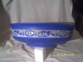 A HUGE BEAUTIFUL BOWL 16 inches DIAMETER , In a gorgeous BLUE with a WHITE frieze