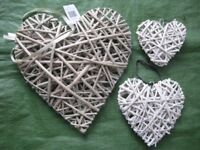 Three Wickerwork Heart Hanging Wall Ornaments for £8.00