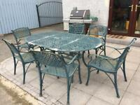 SOLD Cast Iron Garden Chairs and Table