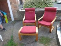 ikea poang chairs x2 and stool 1